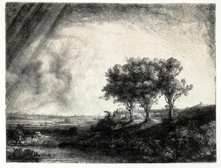 Image: Rembrandt Harmensz van Rijn (Dutch, 1606-1669), The Three Trees. Etching, engraving and drypoint, 1643-Artnews