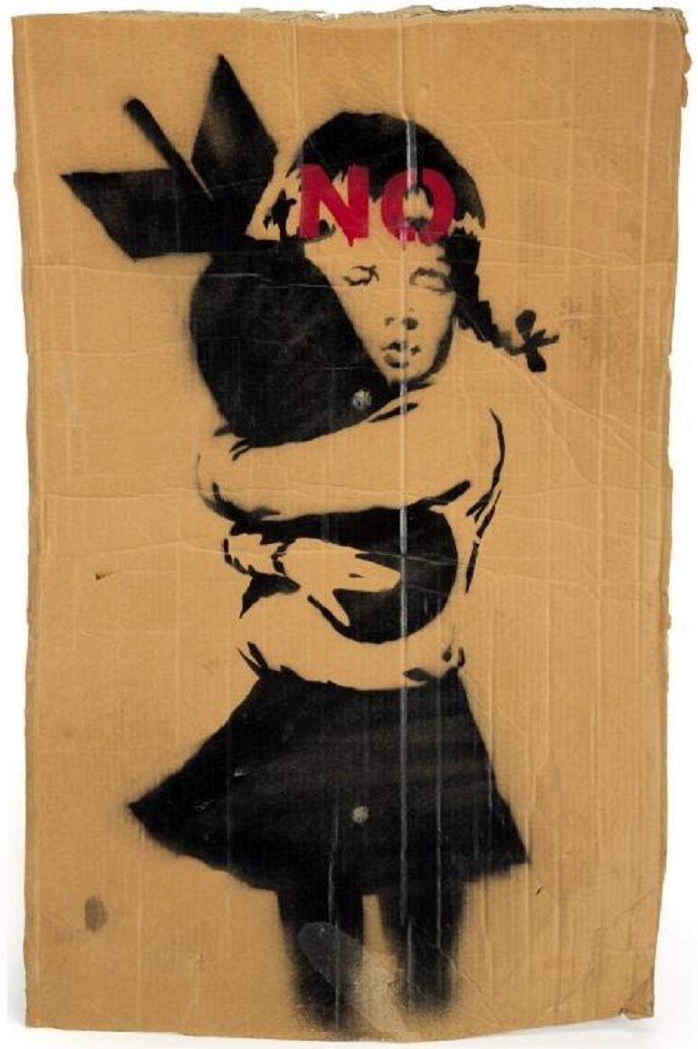 Image: Banksy, Bomb Hugger, 2003, Aerosol on cardboard