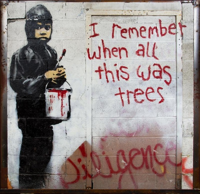 Image: 'I Remember When All This Was Trees', 2010, an aerosol on cinder-block wall by Banksy expected to make record auction price at Julien's Auctions
