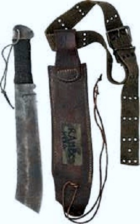 Image: Machete and sheath used by Sylvester Stallone iconic character John Rambo in his 2008 film 'Rambo' -Art News