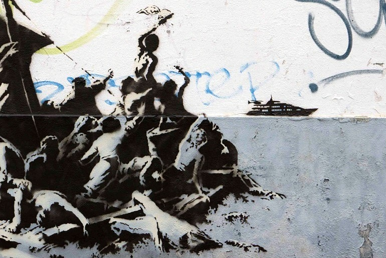Image: Banksy,' We're not all in the same boat' show the plight of Syrian refugee s