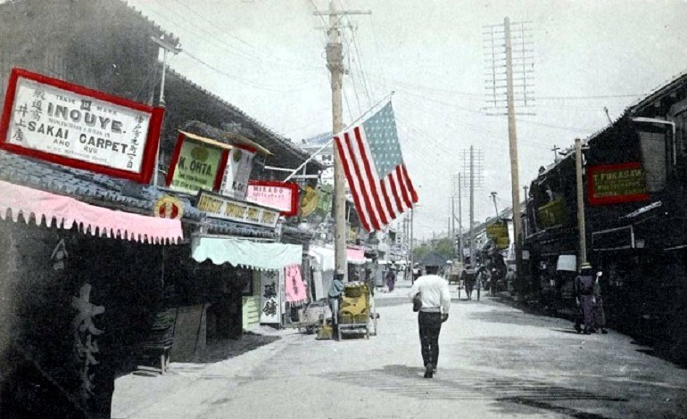 Image: Motomachi-dori Itchome, Kobe. 1901-1907, one of the images in the New York Public Library collection