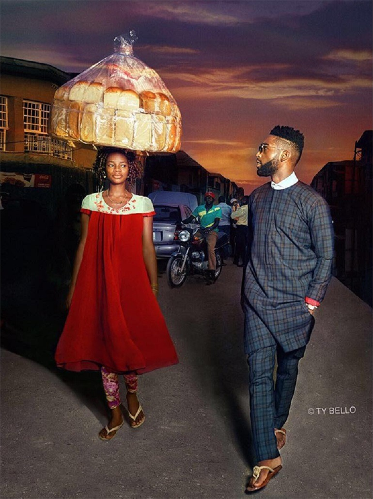 Image: Olajumoke Orisaguna with Tinie Tempah in the street of Lagos during the photo shoot that change the life of this woman