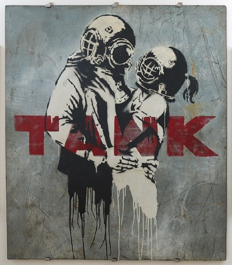 Image: Think Tank by Banksy is one of the works on display in War, Capitalism & Liberty in Rome