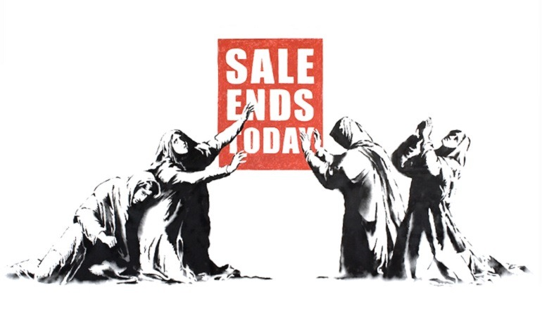 Image: Sale Ends by Banksy is an example of how the artist explores street art and graffiti art to make statements about capitalism and important social issues. Banksy Art