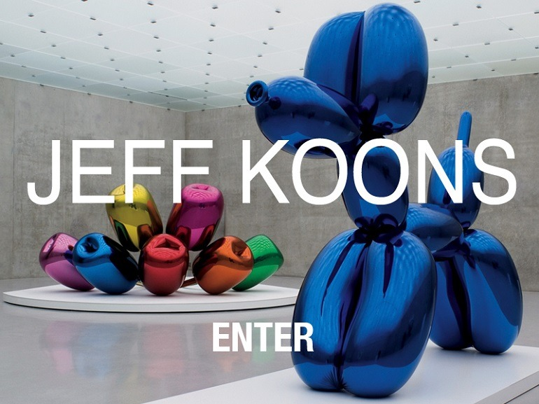 Image: Jeff Koons sculpture welcoming visitors to his websites, one our top ten websites