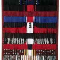 Image: 'Composition-rouge-noir-et-blanc-plus-bleu', 2016, by Abdoulaye Konaté on display at 1:54 Contemporary African Art in London