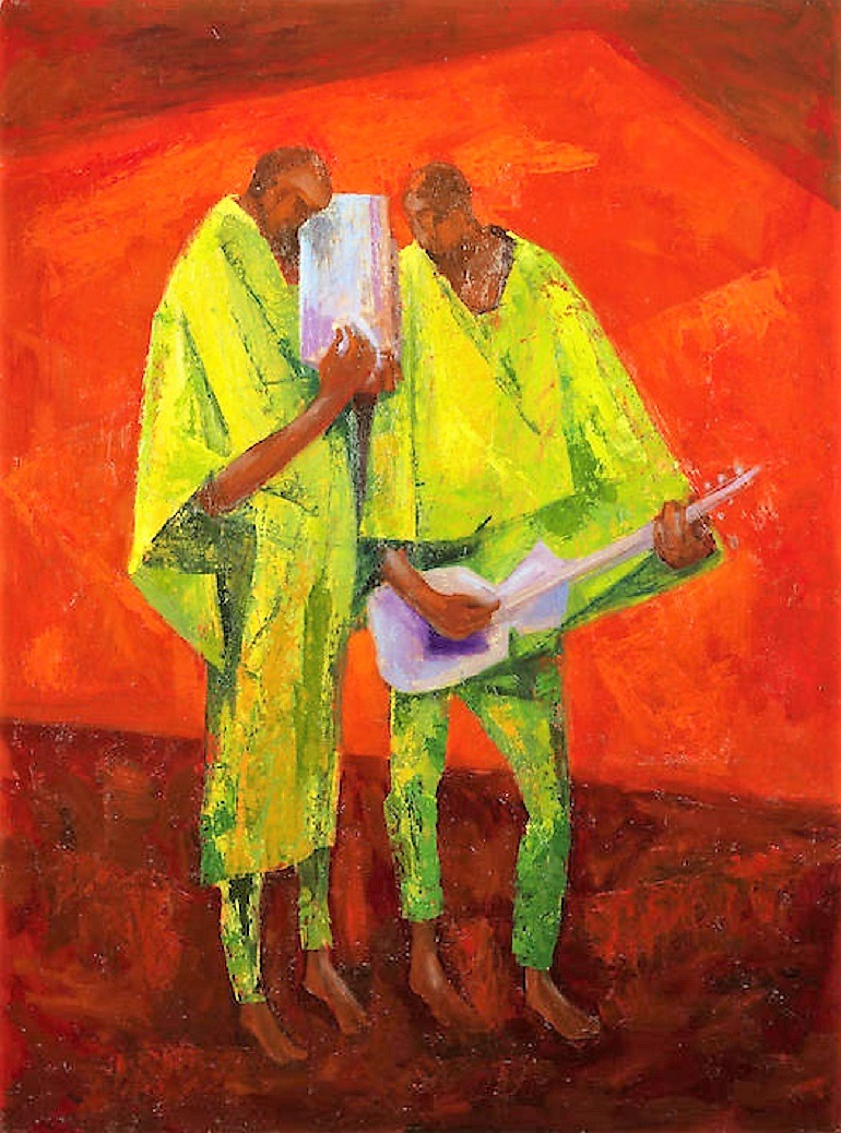 Image: The Duet, an oil on canvas painting by Yusuf Grillo was one the paintings that made record auction prices with Anyanwu at Bonhams Africa Now - Modern Africa Sale in London