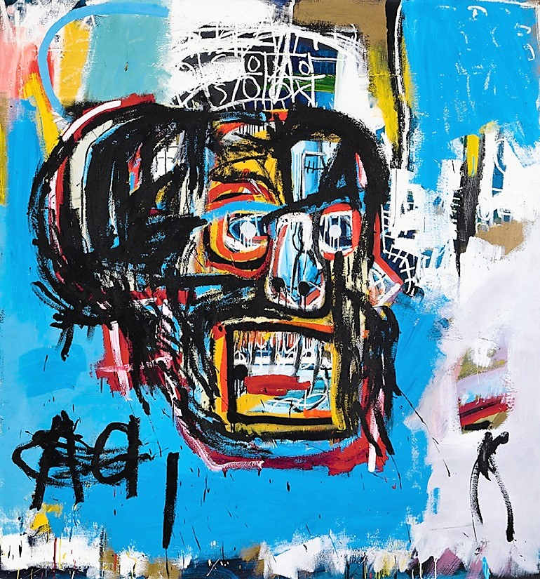 Image: Untitled 1982, an acrylic, spray paint and oilstick on canvas painting by Jean-Michel Basquiat sold for $110.5 million at Sotheby's