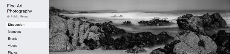 Image: A black and white landscape photograph on the banner of the Fine Art Photography Group, one of the Facebook Photography Groups that provide Photography tutorials and photography tips for aspiring and amateur photographers