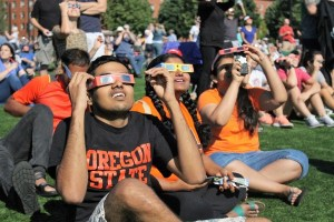 Image: to celebrate the solar eclipse as part of the OSU150 celebration, more than 5,000 people gathered on the Oregon State University campus on Aug. 21 with theis solar glasses