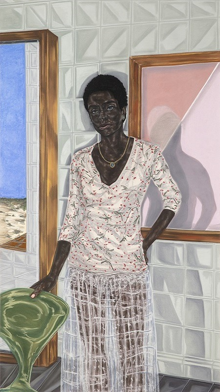Image: A charcoal, pastel and pencil on paper portrait drawing by artist Toyin Ojih Odutola whose works are set to go on display a t the Whitney Museum of American Art in a show titled Toyin Ojih Odutola: To Wander Determined