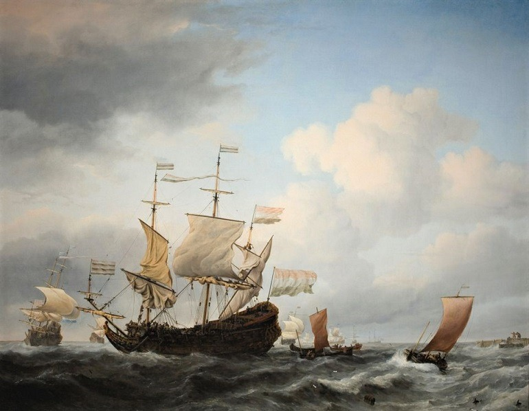 Image: A Dutch Flagship Coming to Anchor, an oil on canvas painting by Willem van de Velde the Younger from the Susan and Matthew Weatherbie Collection that was recently donated to MFA Boston