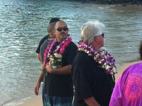 sea burial - son Scot and husband