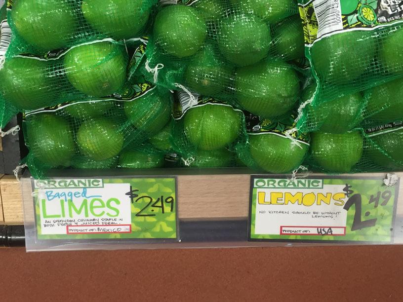 Trader Joe's organic produce labels