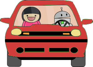 robot driving red car