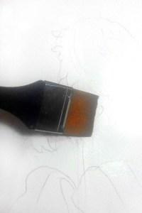 набросок карандашом смачиваем водой