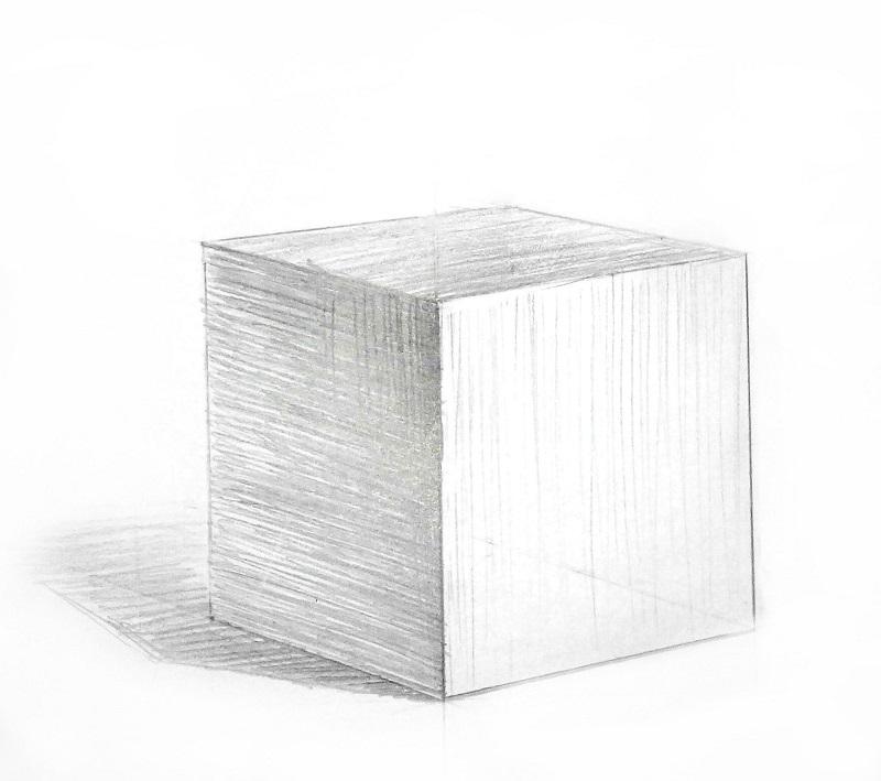 Куб нарисованный по законам перспективного построения и воздушной перспективы