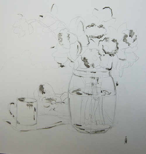 Малюнок натюрморту олівцем з використанням маскувальної рідини