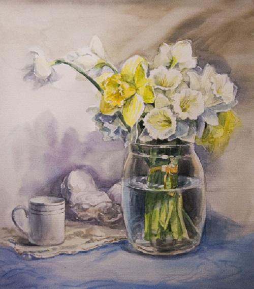 Прорисовка стеклянной вазы акварелью