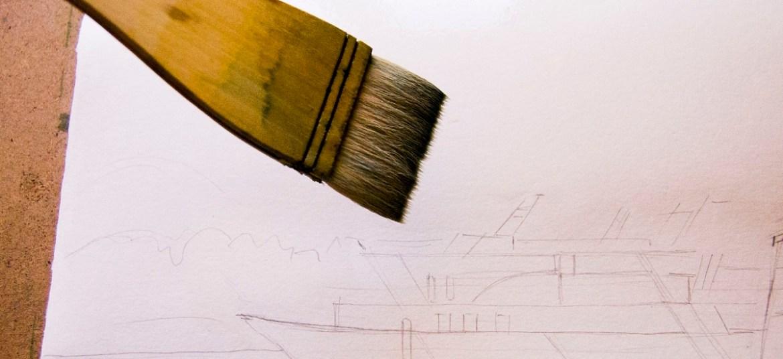 Смачиваем бумагу широкой кистью для рисования акварелью по-мокрому
