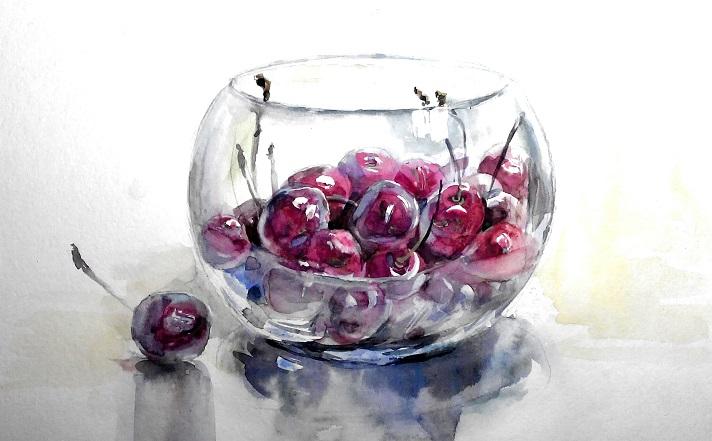 натюрморт черешня в стеклянной вазе, акварель