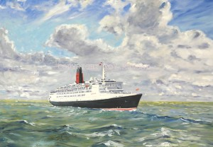 QE 2 entering the river mersey, art class for beginners merseyside