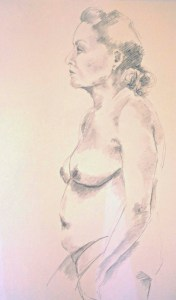 beginners life drawing class for beginners, drawing done in the life class on merseyside