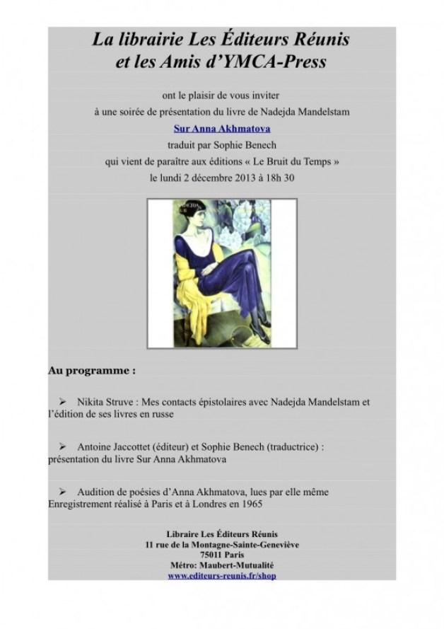 Soirée Nadejda Mandelstam