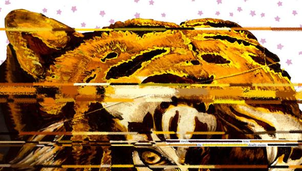 Seventh spread of Inspirations. A tiger fills the frame, stripes across it and an erasure poem. Pink stars in the background.