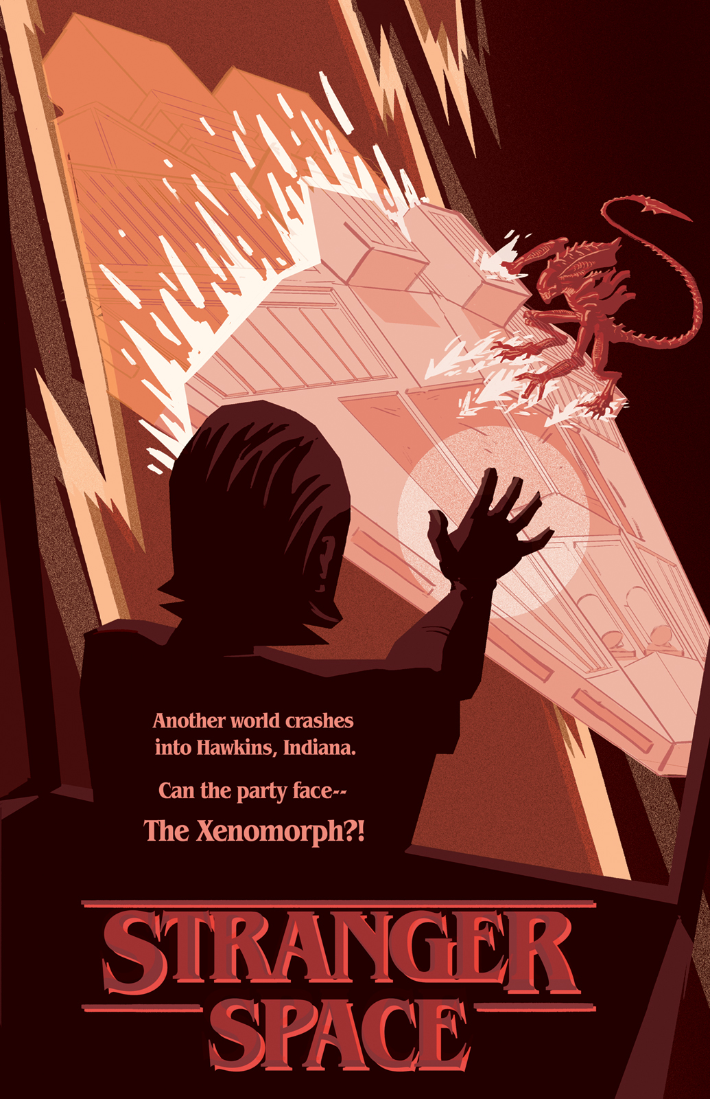 Digital poster design showing El from Stranger Things fighting a Xenomorph as the Nostromo pod crashes through the Gate.