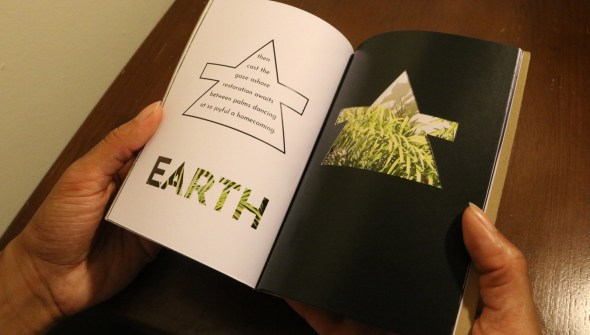 The sixth spread of Restoration. The symbol for earth frames a stanza on the left. The right has an earth symbol cutout.