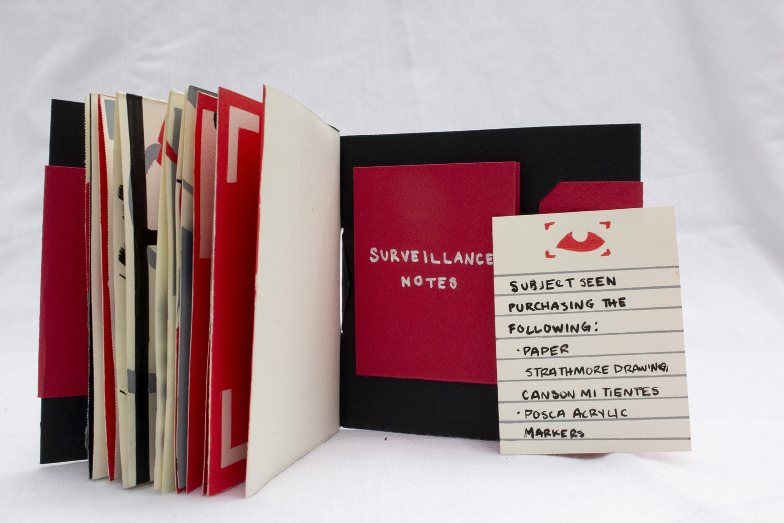 Back cover sleeve. The paper from the pocket is a colophon listing supplies in the format of surveillance notes.