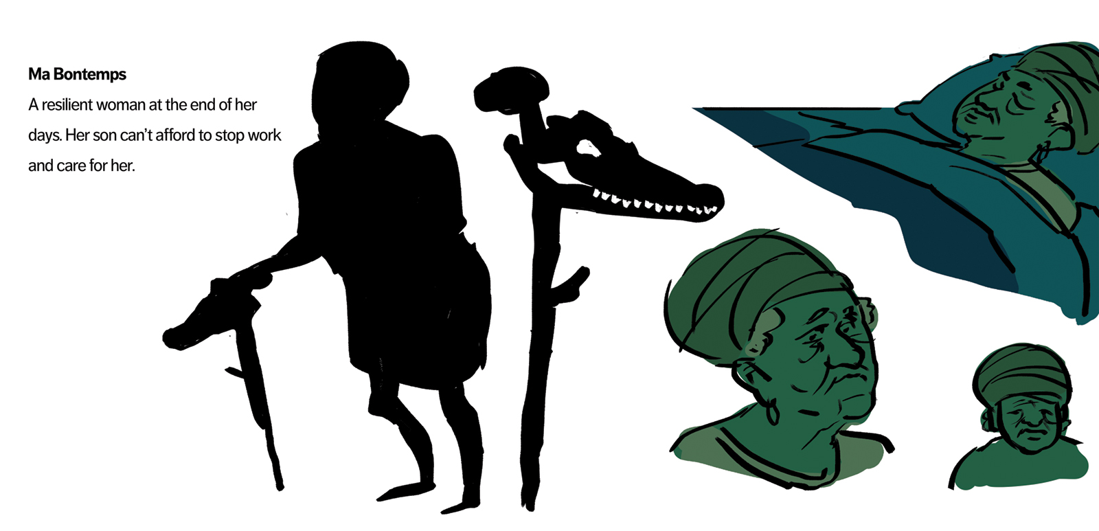 Ma Bontemps concept art. She is elderly and her health is failing so she's bed-bound throughout the story.