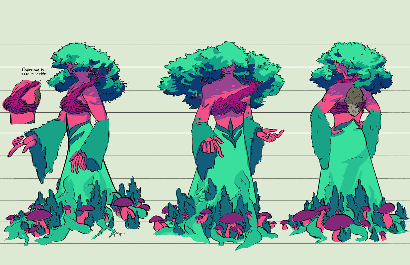 Ireshta character design. They are the natural embodiment of their planet. A tree grows from their torso and small shrubs and fungus grow near the hem of their clothing.