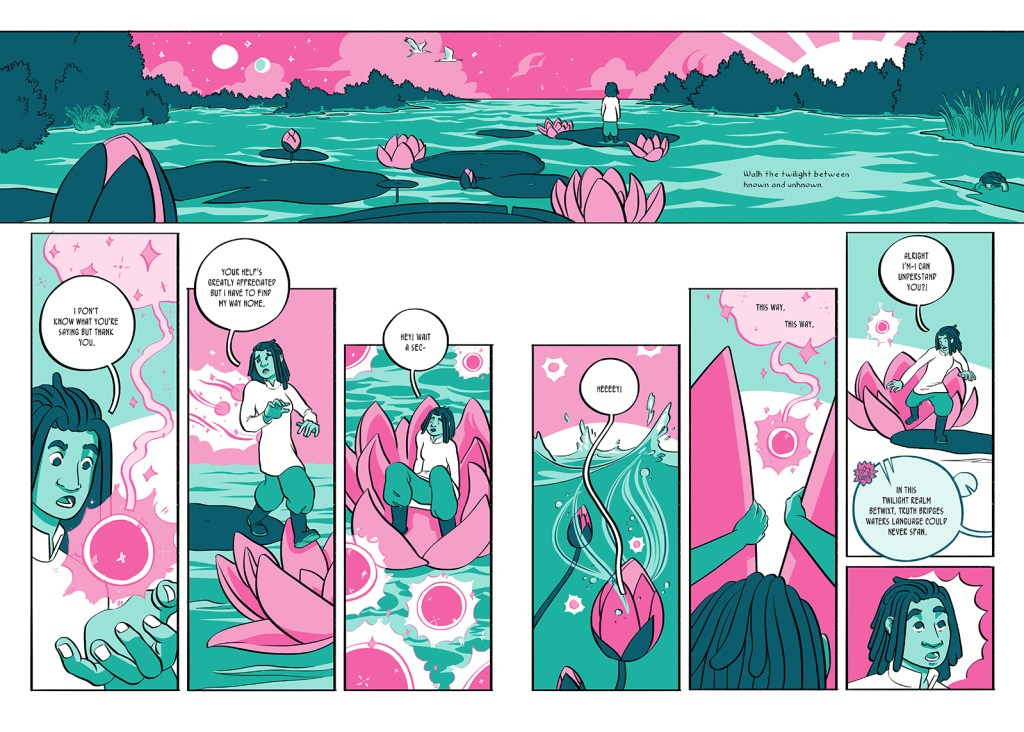 Where the Lotus Sleeps pages 16-17, spread. Kerris fulfills the poem Lavere told them. Wisps lead them onto the water and push them into an oversized lotus. The flower closes and sinks with Kerris inside it.