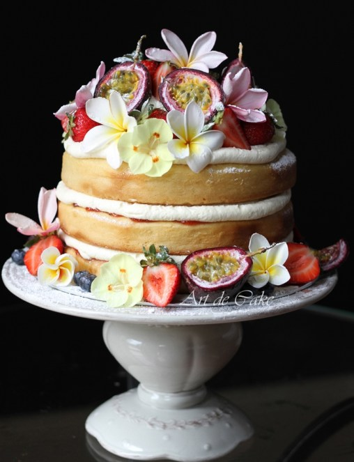 summer fruits sponge layer cake