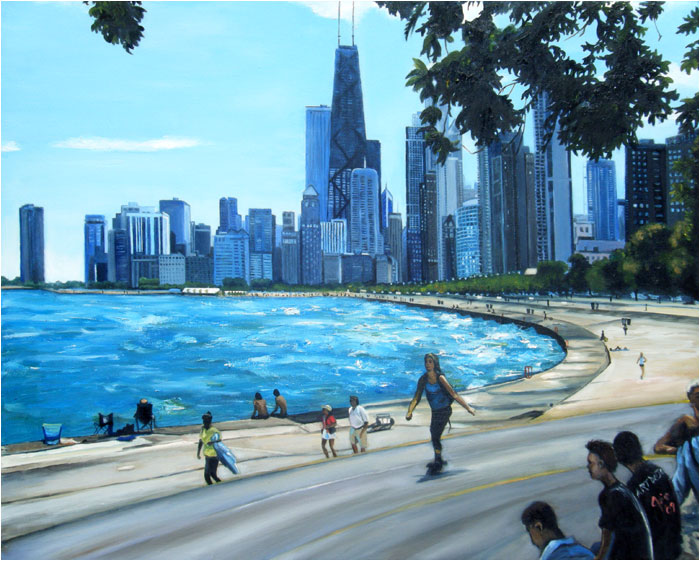 Art De Joie Chicago Oil Painting Of North Avenue Beach