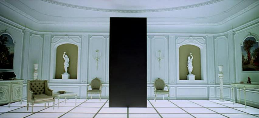 2001: A Space Odyssey (1968) | White room, bedroom, light floor, black monolith | Production Design Porn | Director Stanley Kubrick