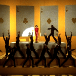 New York, New York (1977) / Martin Scorsese production design   Martin Scorsese Films   Yellow background with stage set up with large hanging playing cards in background