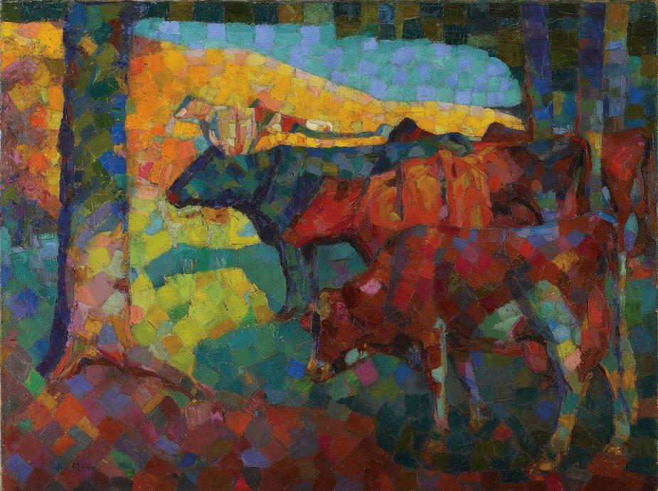 Untitled (Cows on a Hillside) c. 1916 by artist Kathleen Munn