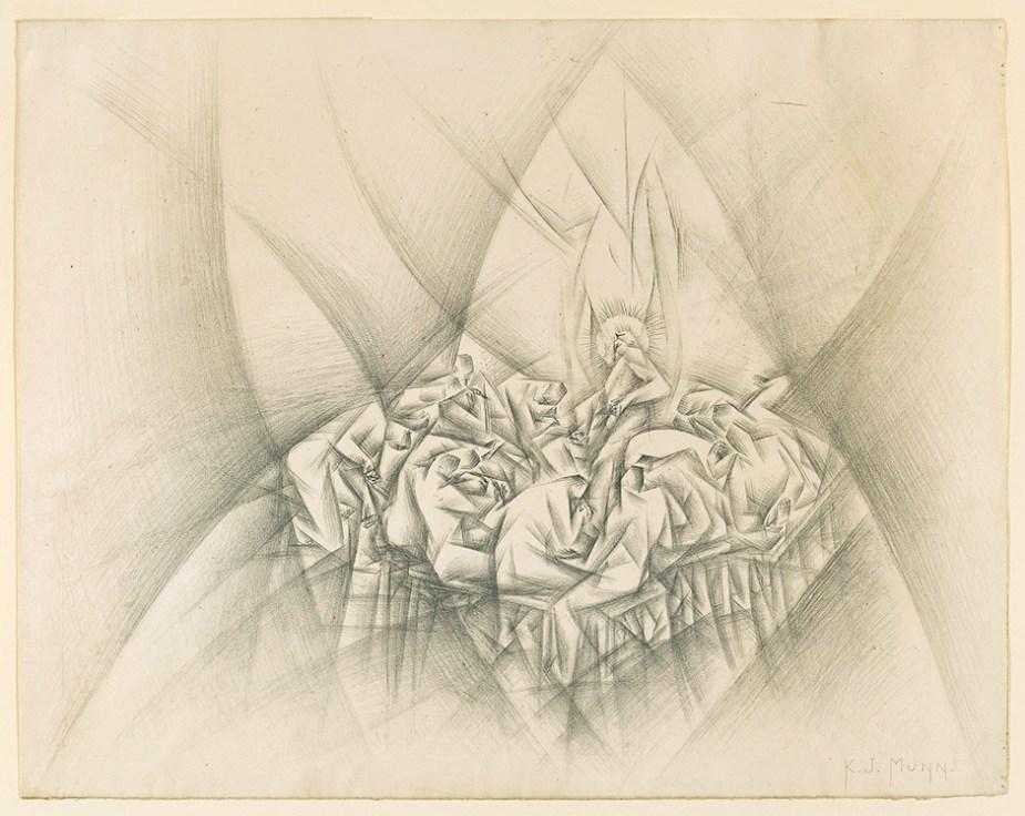Last Supper| c. 1938| graphite on paper| 38.7 x 49.5 cm by artist Kathleen Munn