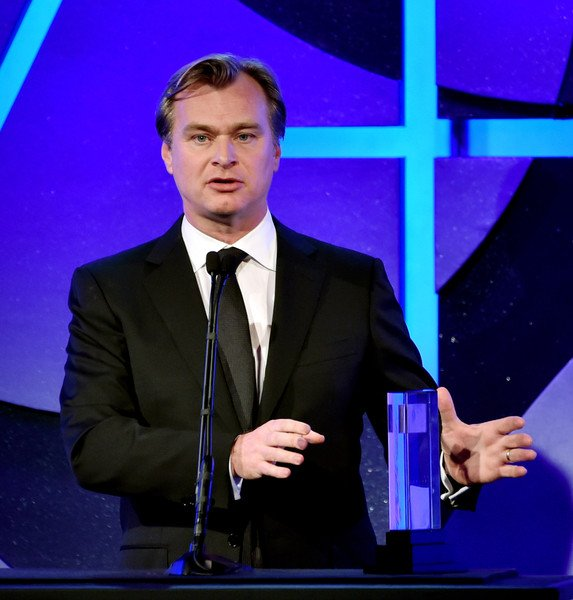 Director, Christopher Nolan accepts the Cinematic Imagery Award