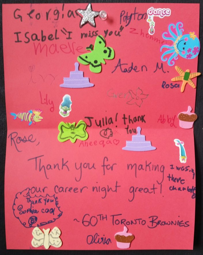 A thank you note from the 60th Toronto Brownies. So cute.