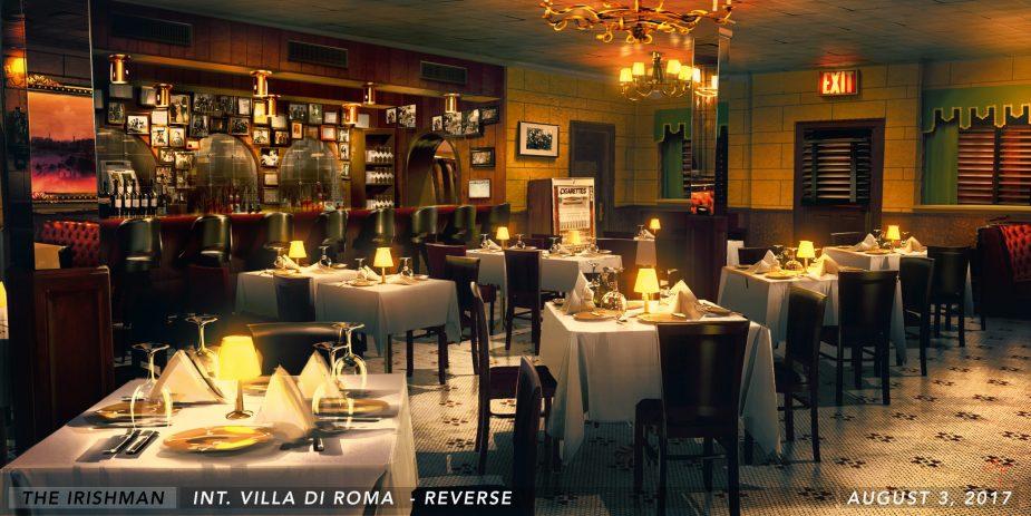 Villa di Roma Set sketch | The Irishman Production Design | Supervising Art Director Laura Ballinger Gardner
