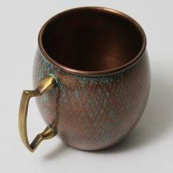 Antique Copper Barrel Shaped Copper Mug with Patina Finish - 16 oz