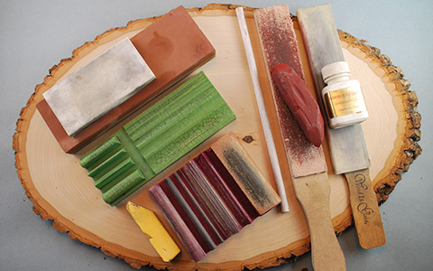 sharpening stones and strops for wood carving
