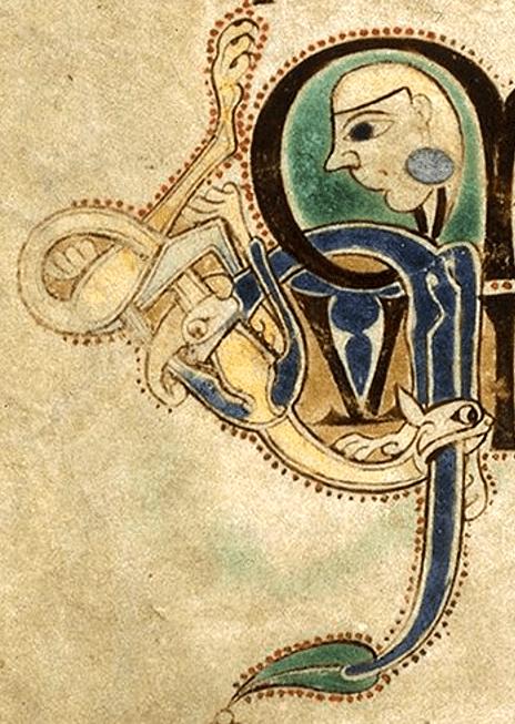 Book of Kells, manuscript, ca.800. Detail