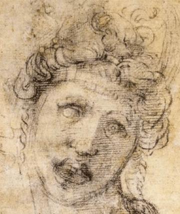 1533-34, Michelangelo Buonarroti, Cleopatra (recto), Casa Buonarroti, Florence. Detail