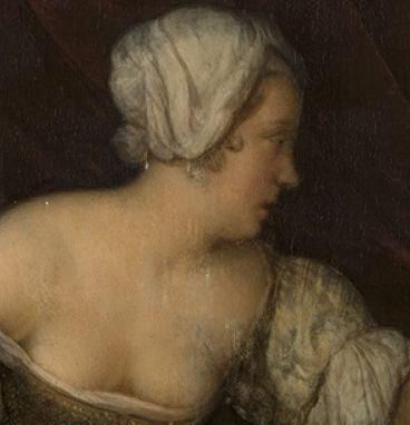 Eglon van der Neer, Interior with a Woman Washing her Hands 1675. Detail